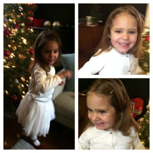 All dressed up for her preschool's holiday soiree!