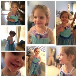 Lily in her Elsa costume, courtesy of Grandma!