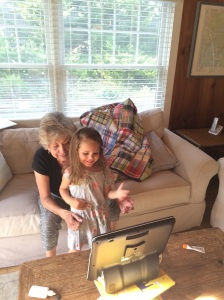 Showing Grandma how to use the Tobii