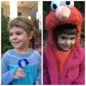 She was adamant that she wanted to be Elsa, and Elmo for Halloween!