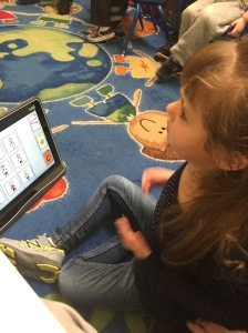 Using the Tobii to participate during circle time!
